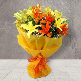 Bunch of 10 orange lilies