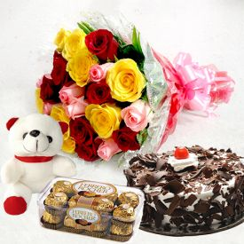 A bunch of 10 mixed roses, 1 kg black forest cake and 16 pcs ferrero rocher