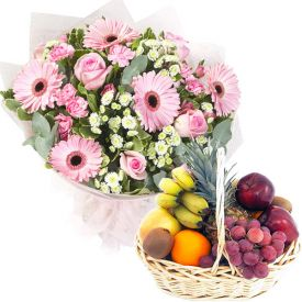 Pink Carnation and Mixed Fruits with Basket.