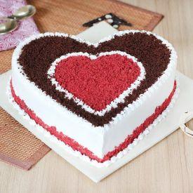 1 Kg Heart shape red velvet cake