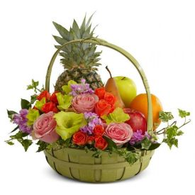 10 Mixed Carnation with Vase and 2 Kg Mixed Fruits with Basket.