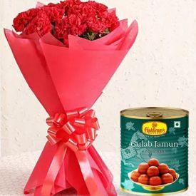 Red Carnation with Haldiram Rasgulla Sweets
