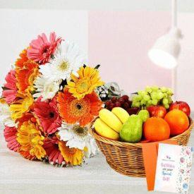 10 Mixed Gerbera and 2 Kg Mixed Fruits with Basket.