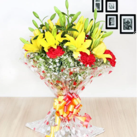 Yellow liles and Red Carnation