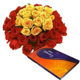 bunches of 20 mixed roses with cadbury celebration