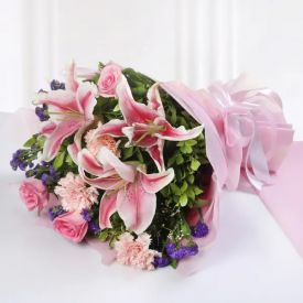 Bunch of lilies and Carnation