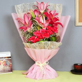 Bunch Of 10 Carnation with lilies