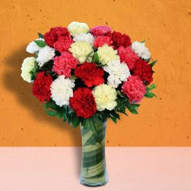 Bunch Of 20 mixed Carnation with Vase
