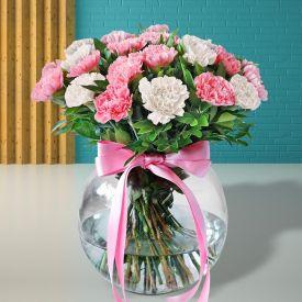 Orange Carnations with Vase