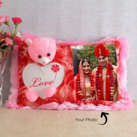 Pink Teddy Pillow Personalized With One Photo