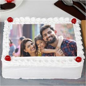 Square Photo Vanilla Cake