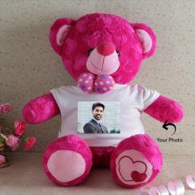 Photo Personalized Dark Pink Teddy