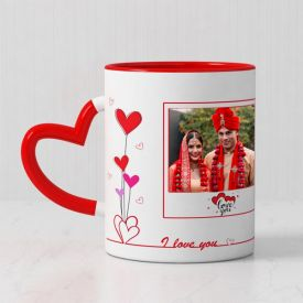 Personalized Red Magic Mug with Heart Handle