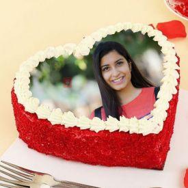 Heart Shape Red velvet Photo Cake