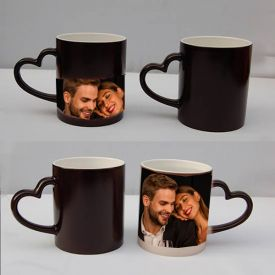 Black Magic Photo Mug with Heart Shape Handle