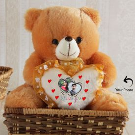 Two Photos Personalized Brown Teddy