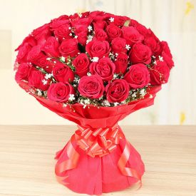 Vase with 50 Red Roses