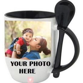 Personalized Black Mug with Spoon