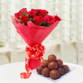 Red Roses with gulab jamun