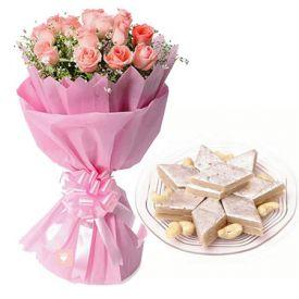Pink Roses N Kaju Katli