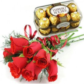 Red Rose with Ferrero Rocher