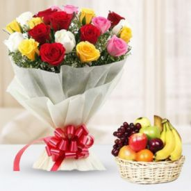 Mix Roses With Mix Fruits