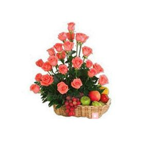 Pink Roses With Mix Fruits