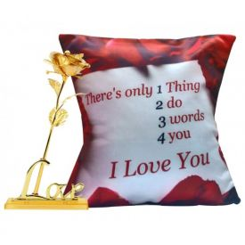 Golden Rose with Cushion