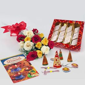Mixed Roses With Dewali Gifts