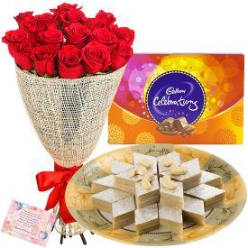 Roses with kaju katli