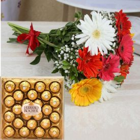 Mixed Gerbera With Ferrero Rocher