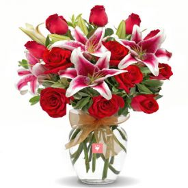 5 Pink lilies and 10 Red Rose with Vase
