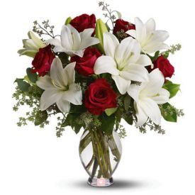 5 White lily and 10 Red Rose with vase