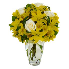 Yellow lily and white Rose in vase