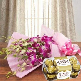 Orchid and ferrero rocher
