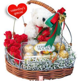 10 Red Roses, 16 pcs Ferrero Rocher and 6 inch Teddy with Basket