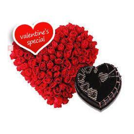 Heart of Roses with heart shape chocolate Truffle cake