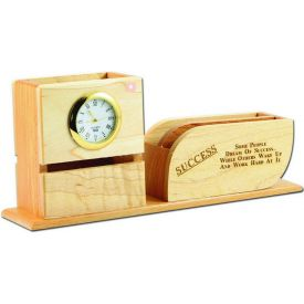 Pen stand with Visiting card stand and Clock