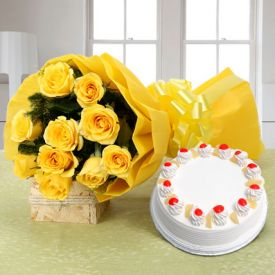 Yellow Roses with Pineapple Cake