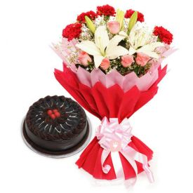 Mixed flower With Truffle Cake
