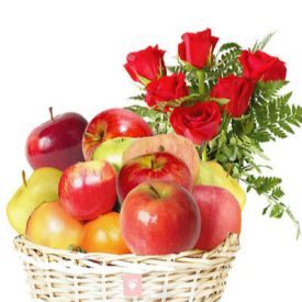 10 Red Roses and 2 Kg Apple with Basket.