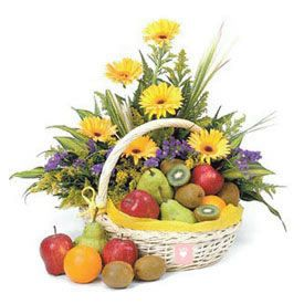 10 Yellow Gerbera and 2 Kg Mixed Fruits with Basket.