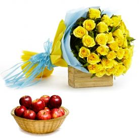 Yellow Roses With Apple