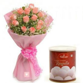 Pink Roses with Rasgulla