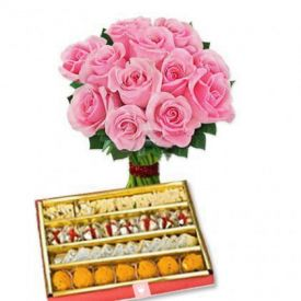 Bunch of 10 Pink Roses with 1/2 Kg Mixed Sweets.