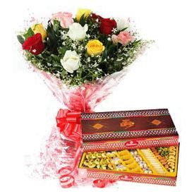 Bunch of 10 Mixed Roses with 1/2 Kg Mixed Sweets.
