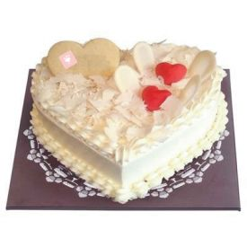 Heart shaped white forest Cake