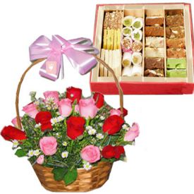 Basket of 20 Pink and Red Roses with 1/2 Kg Mixed Sweets