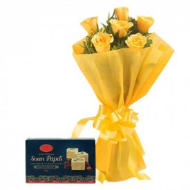 Bunch of 10 Yellow Roses with 1/2 Kg Soan Papdi.