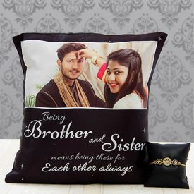 Brother - Sister Personalized Cushion with Stone & Pearl Rakhi